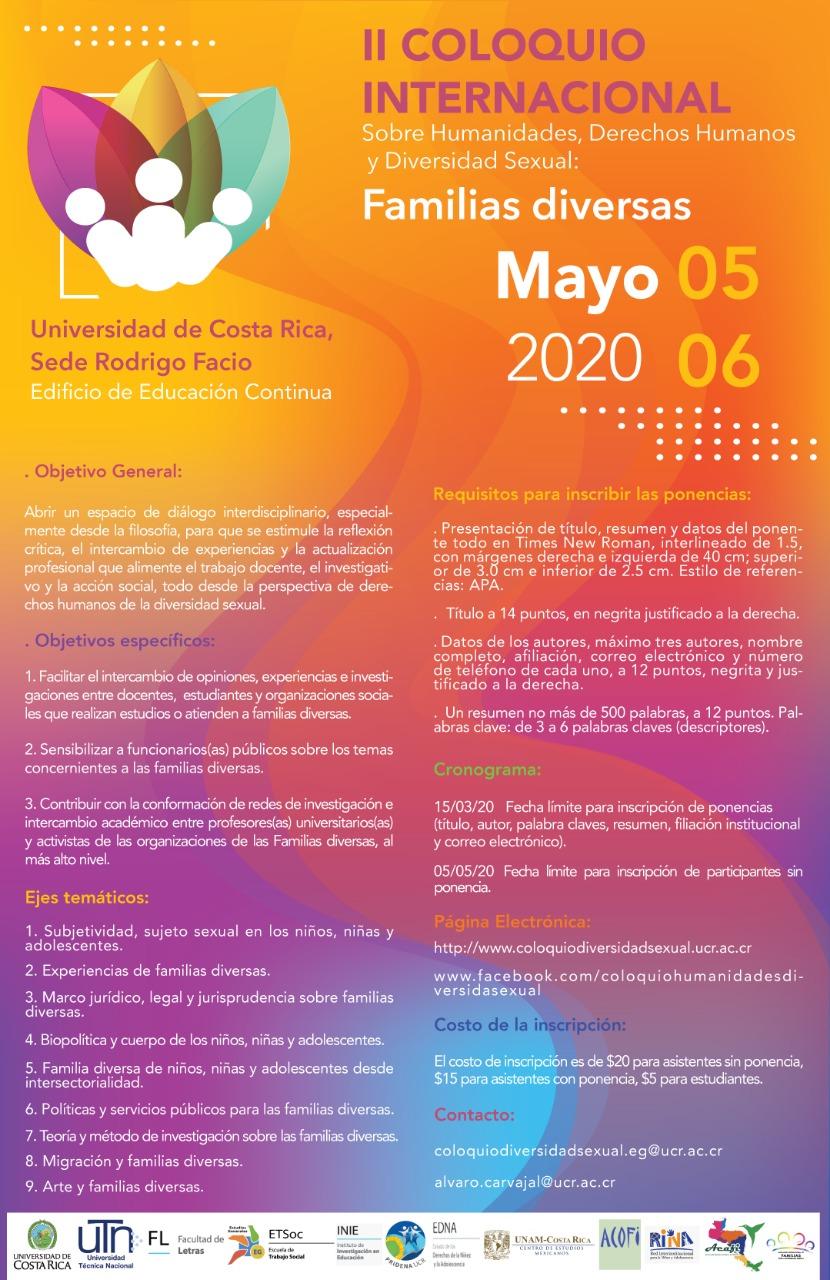 Coloquio Internacional sobre Humanidades, Derechos Humanos y Diversidad Sexual: Familias Diversas